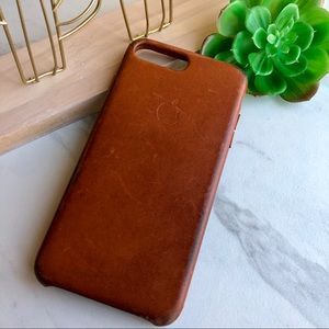 APPLE I-Phone 7 Cognac Color LEATHER Phone Case